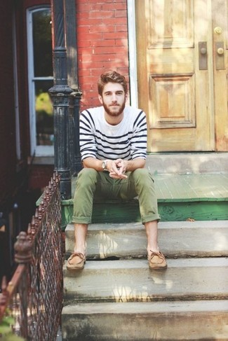 How to wear: white and navy horizontal striped crew-neck sweater, olive chinos, tan leather boat shoes