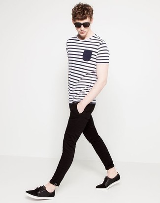 How to wear: white and navy horizontal striped crew-neck t-shirt, black jeans, black plimsolls
