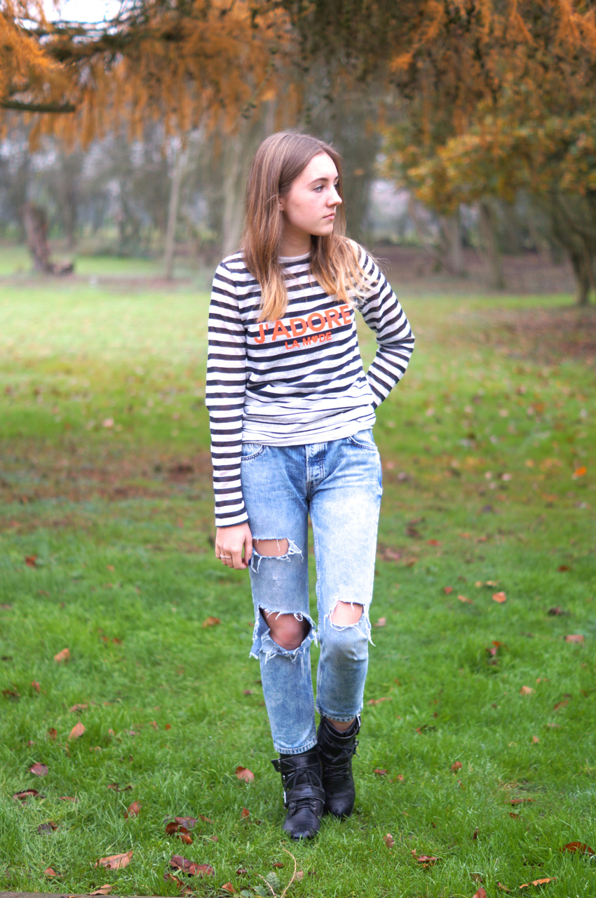 Black t shirt light blue jeans - Nail Glam In A White And Navy Striped Long Sleeve T Shirt And Light Blue Light Blue Ripped Boyfriend Jeans Black