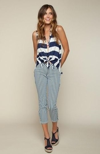Choose a white and navy horizontal striped sleeveless top and Etro women's Striped Cropped Trousers for a standout ensemble. And if you want to instantly up the style ante of your look with one piece, add navy crochet heeled sandals to the equation. This one will play especially nice come summer.