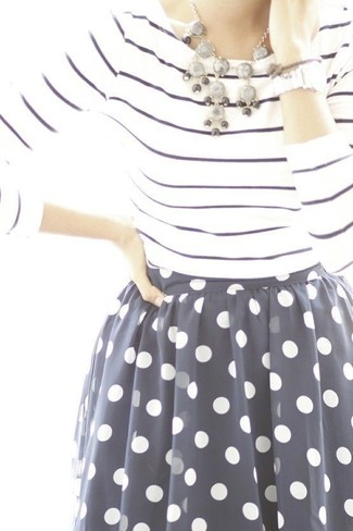 How to wear: white and navy horizontal striped long sleeve t-shirt, navy and white polka dot chiffon full skirt, grey necklace, silver watch