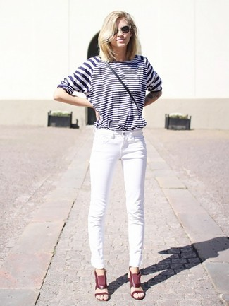 How to wear: white and navy horizontal striped long sleeve t-shirt, white jeans, burgundy leather heeled sandals, black leather crossbody bag