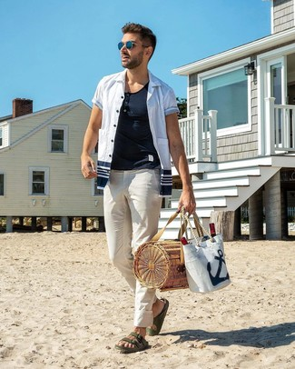 How to wear: white and navy short sleeve shirt, white henley shirt, white chinos, dark green leather sandals