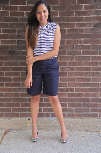 How to wear: white and navy horizontal striped sleeveless top, navy bermuda shorts, silver leather pumps, clear necklace