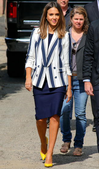 Women's White and Navy Vertical Striped Blazer, Navy Sheath Dress, Yellow Leather Pumps