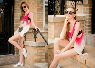 How to wear: white and pink print tank, olive denim shorts, white canvas low top sneakers, black sunglasses