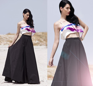 How to wear: white and purple print cropped top, black pleated maxi skirt