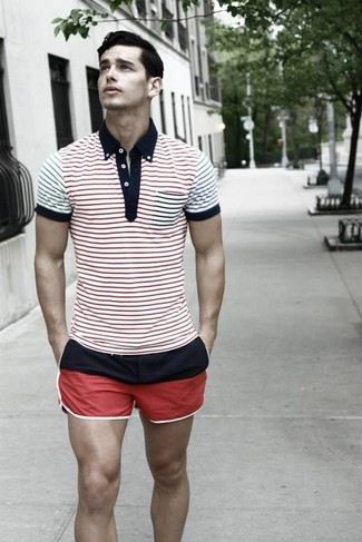 A white and red and navy horizontal striped polo and shorts is a great combination to carry you throughout the day.