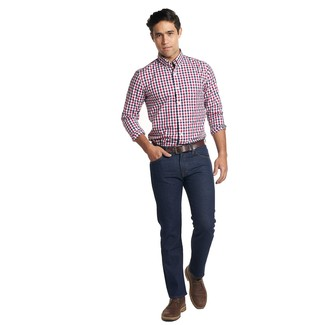 How to Wear a Dark Brown Leather Belt For Men: A white and red and navy gingham long sleeve shirt looks especially nice when combined with a dark brown leather belt. To add some extra classiness to this look, grab a pair of dark brown leather desert boots.