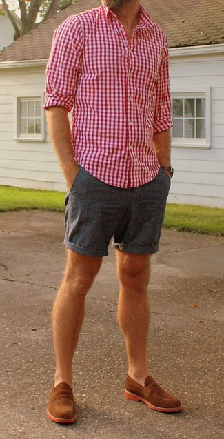How to wear: white and red and navy gingham long sleeve shirt, navy shorts, tobacco suede loafers, dark brown leather watch