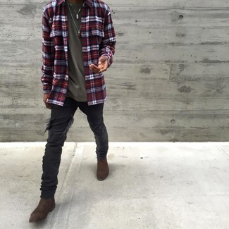 How to Wear Black Ripped Skinny Jeans For Men: A white and red and navy plaid long sleeve shirt and black ripped skinny jeans will infuse your style with a casual-cool vibe. Grab a pair of dark brown suede chelsea boots to make the look a bit more polished.