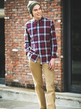How to wear: white and red and navy plaid long sleeve shirt, khaki chinos, olive beanie