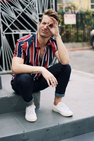 e46a9c650c29 ... Men's White and Red and Navy Vertical Striped Short Sleeve Shirt, Black Skinny  Jeans,