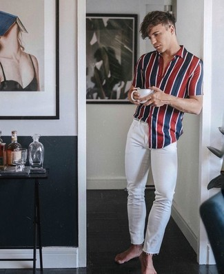 1a062ea9f49cbc ... Men's White and Red and Navy Vertical Striped Short Sleeve Shirt, White  Skinny Jeans