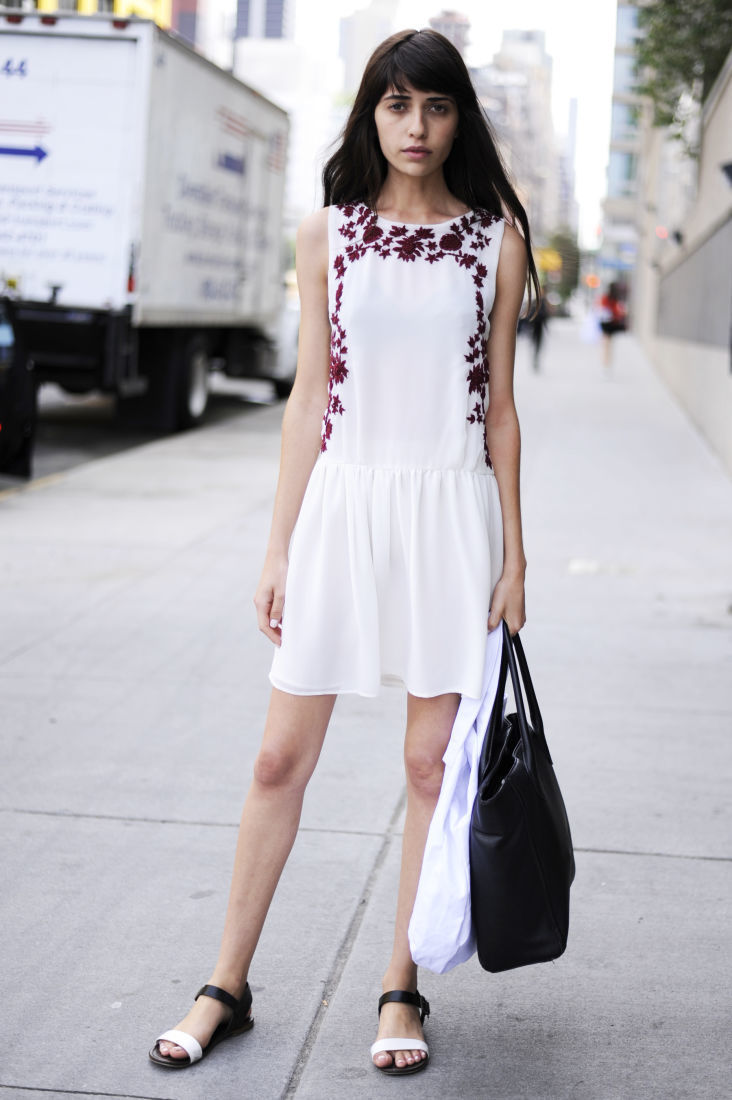 Women&-39-s White and Red Embroidered Casual Dress- White and Black ...