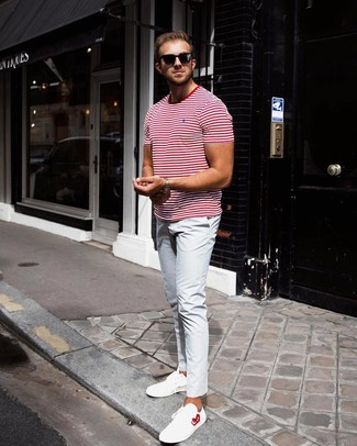 How to Wear a White and Red Horizontal Striped Crew-neck T-shirt For Men: Go for a white and red horizontal striped crew-neck t-shirt and light blue chinos for a comfy ensemble that's also well-executed. A pair of white leather low top sneakers acts as the glue that will bring your look together.