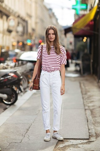 White Boyfriend Jeans Outfits: A white and red horizontal striped crew-neck t-shirt and white boyfriend jeans are a good combo worth integrating into your current styling routine. For maximum impact, complete your look with white low top sneakers.