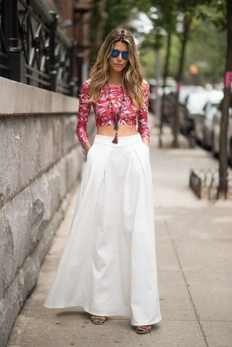 How to wear: white and red floral cropped top, white maxi skirt, blue sunglasses, multi colored pendant