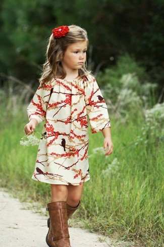 How to wear: white and red dress, brown boots