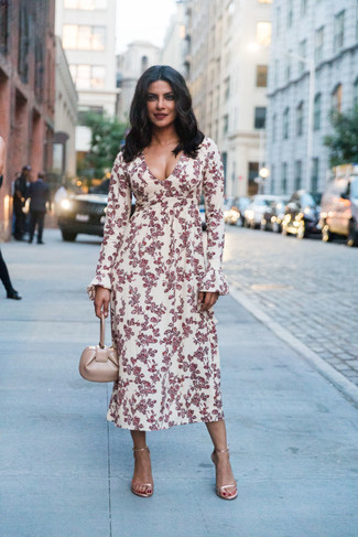 How to wear: white and red floral midi dress, gold leather heeled sandals, beige leather handbag