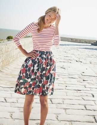 Women's White and Red Horizontal Striped Long Sleeve T-shirt, White Floral Full Skirt