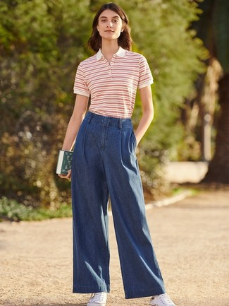 How to Wear Navy Denim Wide Leg Pants: For an edgy and casual ensemble, make a white and red horizontal striped polo and navy denim wide leg pants your outfit choice — these pieces play really great together. With shoes, stick to the casual route with a pair of white canvas low top sneakers.