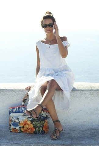 How to wear: white beach dress, grey print leather gladiator sandals, multi colored floral canvas tote bag, black sunglasses