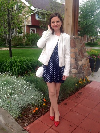 How to wear: white leather biker jacket, navy polka dot casual dress, red leather ballerina shoes, white leather crossbody bag