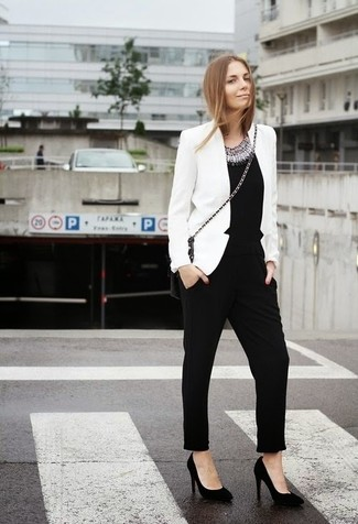 Women's White Blazer, Black Embellished Jumpsuit, Black Suede Pumps, Black Leather Crossbody Bag