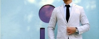 How to wear: white blazer, blue long sleeve shirt, black tie