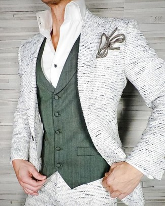 How to wear: white tweed blazer, dark green waistcoat, white dress shirt, white pocket square