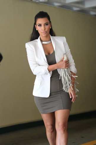How to wear: white blazer, grey bodycon dress, white fringe leather clutch, silver necklace