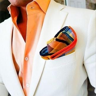 How to wear: white blazer, orange dress shirt, multi colored plaid pocket square