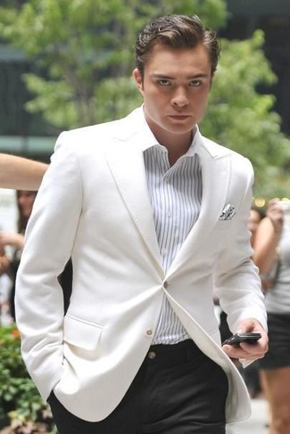 How to wear: white blazer, white vertical striped dress shirt, black dress pants, white polka dot pocket square