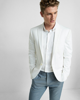 How to wear: white blazer, white dress shirt, blue dress pants