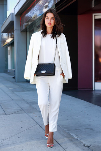 63ab9a8ebacfb ... Women's White Blazer, White Jumpsuit, White Leather Heeled Sandals,  Black Quilted Leather Crossbody