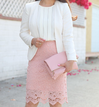 How to Wear a White Silk Sleeveless Top: A white silk sleeveless top and a pink lace pencil skirt paired together are a total eye candy for those who prefer relaxed outfits.