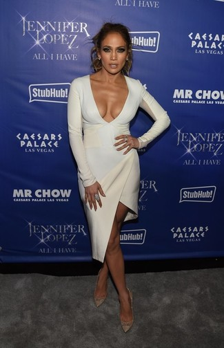 Jennifer Lopez wearing White Bodycon Dress, Gold Leather Pumps, Light Blue Earrings, Light Blue Ring