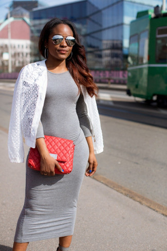 Women's White Mesh Bomber Jacket, Grey Bodycon Dress, Red Quilted Leather Clutch, Grey Sunglasses