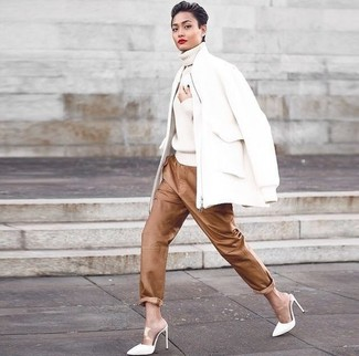 How to wear: white wool bomber jacket, white knit turtleneck, brown leather pajama pants, white leather mules