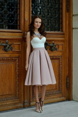 How to wear: white bustier top, pink full skirt, beige leather heeled sandals, clear necklace