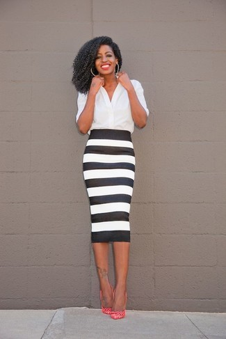 How to wear: white button down blouse, black and white horizontal striped pencil skirt, hot pink horizontal striped leather pumps