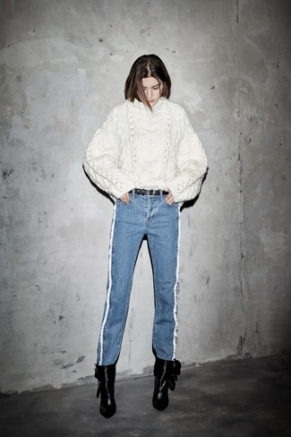 How to wear: white cable sweater, blue jeans, black leather ankle boots, black leather belt