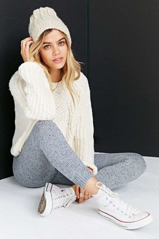 How to wear: white cable sweater, grey wool leggings, white high top sneakers, white beanie