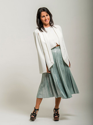 How to wear: white cape blazer, white cropped top, mint pleated midi skirt, black chunky leather heeled sandals