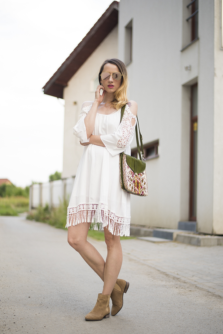White dress boots - Wear White Crochet Casual Dress For A Lazy Sunday Brunch Complement This Look With Brown