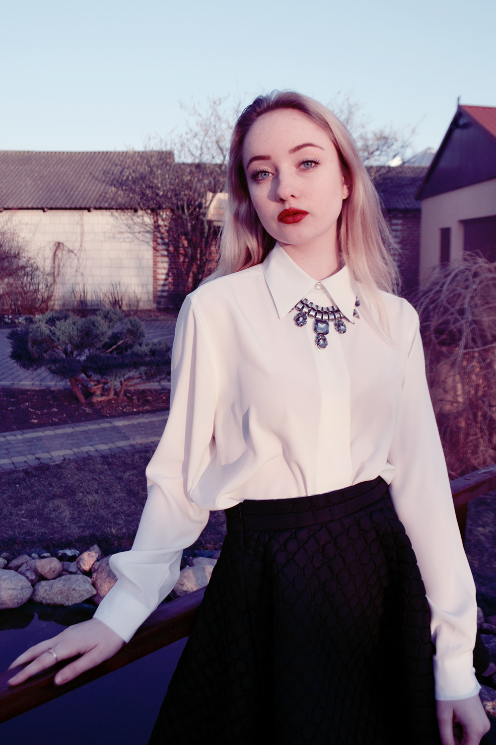 e998cc0f80 How to wear: white chiffon dress shirt, black quilted skater skirt, silver  necklace