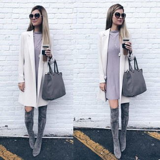 How to wear: white coat, grey shift dress, grey suede over the knee boots, grey leather tote bag
