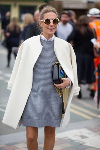 Women's White Coat, Grey Sweater Dress, White Dress Shirt, Black Leather Crossbody Bag