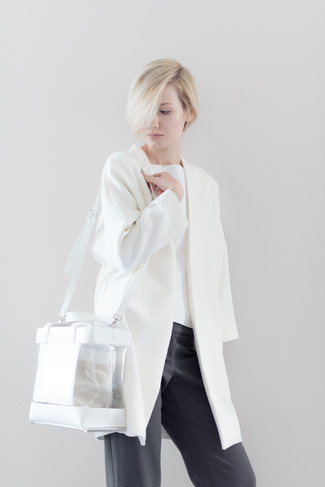 How to wear: white coat, white crew-neck sweater, charcoal wide leg pants, clear rubber tote bag
